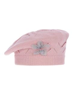 Przejściowy beret akrylowy z kwiatem AGB/3334 jasny róż