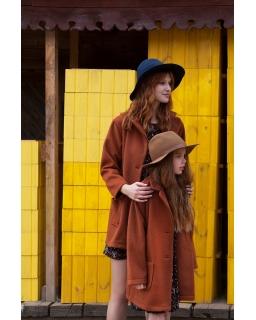 Jesienny płaszcz z alpaki dla dziewczynki 140-158 Carla brąz
