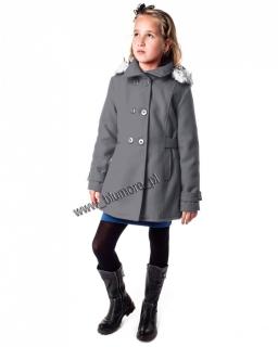 Ciepły płaszcz dla dziewczynki na zimę 128 - 164 Angela szary