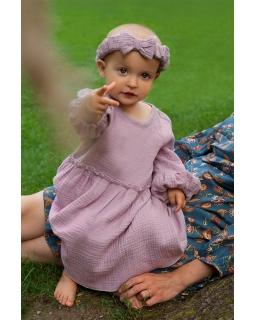 Dziewczęca muślinowa sukienka 80 - 110 Ana fioletowa