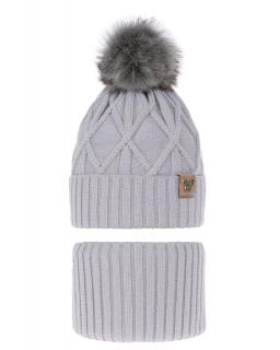 Zimowy komplet czapka plus komin AGB/3530 szary