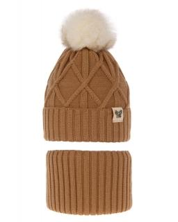 Zimowy komplet czapka plus komin AGB/3530 camel