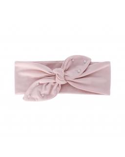 Bawełniana opaska z kokardką i perełkami AGB/4795 róż
