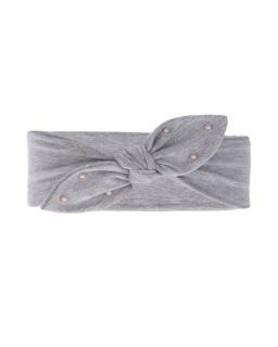Bawełniana opaska z kokardką i perełkami AGB/4795 szary