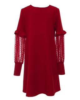 Elegancka sukienka z fatazyjnymi rękawkami 134-164 1AW-03C