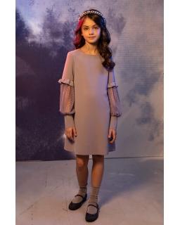 Elegancka sukienka z fatazyjnymi rękawkami 134-164 1AW-03B