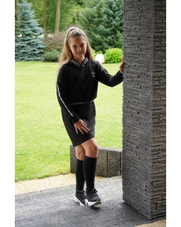 Sukienka dresowa z kapturem 134-164 RNX03 czarna