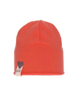 Niemowlęca bawełniana czapeczka serduszko AGB/4682 pomarańcz