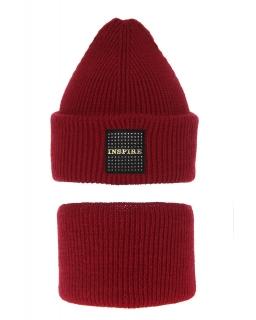 Modny zestaw na zimę czapka i komin AGB/3452 bordo
