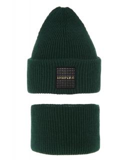 Modny zestaw na zimę czapka i komin AGB/3452 zielony