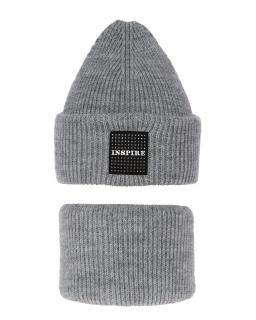 Modny zestaw na zimę czapka i komin AGB/3452 szary