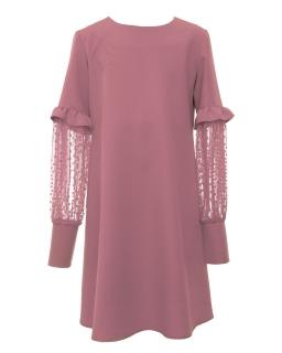 Elegancka sukienka z fatazyjnymi rękawkami 134-164 1AW-03A róż
