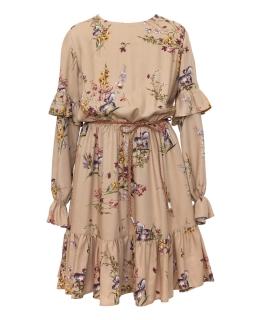 Wizytowa sukienka w jesiennych kolorach 140-170 1AW-05 beż