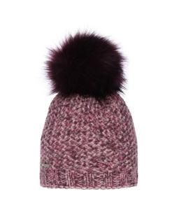 Ciepła zimowa czapka z dużym pomponem AGB/741 fioletowa