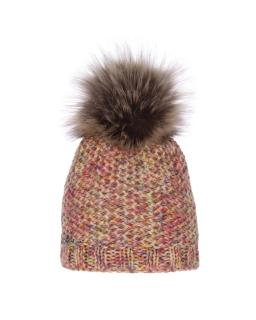 Ciepła zimowa czapka z dużym pomponem AGB/741 kolorowa