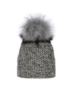 Ciepła zimowa czapka z dużym pomponem AGB/741 szara