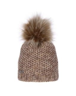 Ciepła zimowa czapka z dużym pomponem AGB/741 brąz