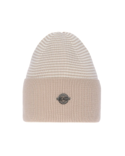 Uniwersalna zimowa czapka w paski AGB/4812 beżowy