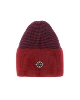 Uniwersalna zimowa czapka w paski AGB/4812 czerwony