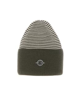 Uniwersalna zimowa czapka w paski AGB/4812 khaki