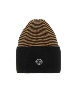 Uniwersalna zimowa czapka w paski AGB/4812 czarny