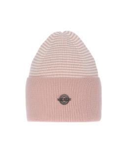 Uniwersalna zimowa czapka w paski AGB/4812 róż