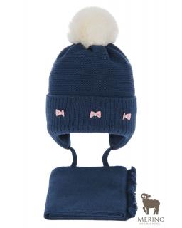 Komplet dla dziewczynki czapka i komin AGB/4733 granat