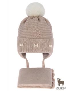 Komplet dla dziewczynki czapka i komin AGB/4733 beż
