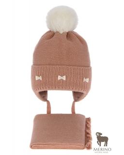 Komplet dla dziewczynki czapka i komin AGB/4733 brąz
