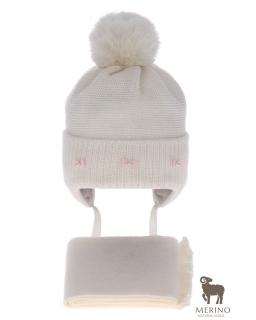Komplet dla dziewczynki czapka i komin AGB/4733 krem