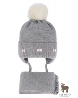 Komplet dla dziewczynki czapka i komin AGB/4733 szary