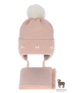 Komplet dla dziewczynki czapka i komin AGB/4733 róż