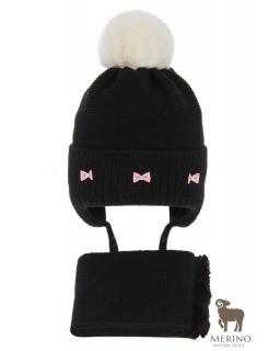 Komplet dla dziewczynki czapka i komin AGB/4733 czarny