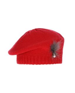 Elegancki berecik z piórkiem i perełką AGB/4732 czerwony