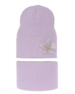Przejściowy komplet czapka plus komin AGB/3450 fioletowy