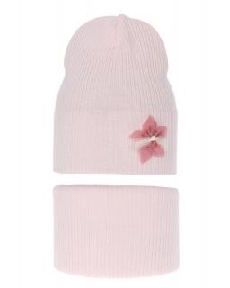 Przejściowy komplet czapka plus komin AGB/3450 jasny róż