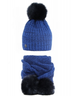 Zimowy komplet czapka i szalik 50-52 AGB/2267 kobalt