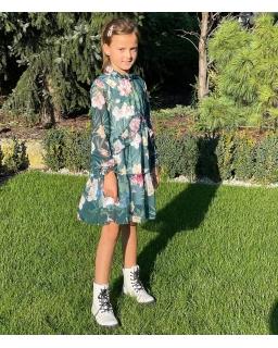 Oryginalna sukienka z falbankami i długim rękawkiem 134-164 Ela