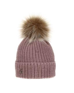 Zimowa czapka z pomponem 50-52 AGB/3162 róż