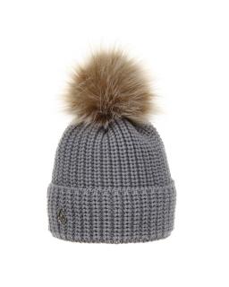 Zimowa czapka z pomponem 50-52 AGB/3162 szary