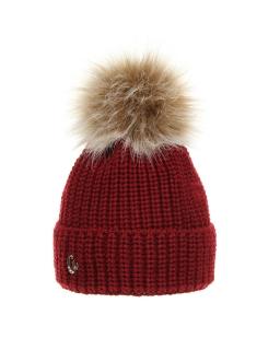 Zimowa czapka z pomponem 52-54 AGB/3162 bordo