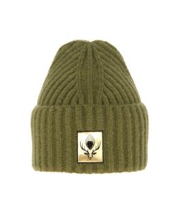 Zimowa czapka z modną naszykwą 55-60 AGB/4760 zielony