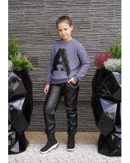 Sweter z literką A i frędzlami 134-164 Asia fiolet