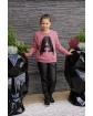 Sweter z literką A i frędzlami 134-164 Asia ceglasty