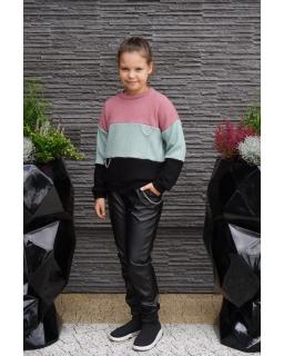 Sweter w pasy z łańcuszkiem 134-164 Basia mięta plus róż