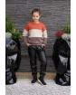 Sweter w pasy z łańcuszkiem 134-164 Basia ceglasty plus beż