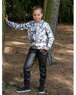 Czarne spodnie ze skajki z łańcuszkiem 134-164 Kaja