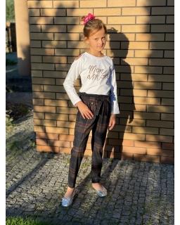 Modne spodnie w kratkę na jesienne stylizacje 134-164 Kama