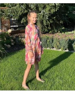 Oryginalna sukienka z falbankami i długim rękawkiem 134-164 Ela 3