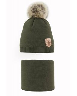 Komplet chłopięcy czapka i komin 48-54 AGB/3474 khaki